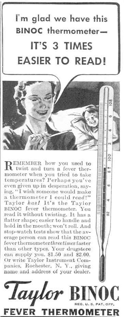 TAYLOR BINOC FEVER THERMOMETER GOOD HOUSEKEEPING 03/01/1940 p. 190