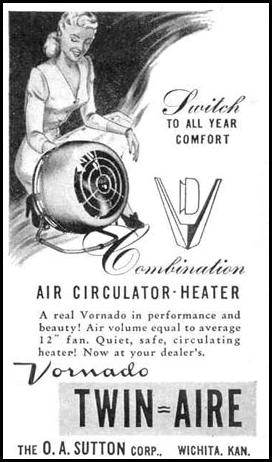 VORNADO TWIN-AIRE FAN AND HEATER LIFE 10/27/1947 p. 136
