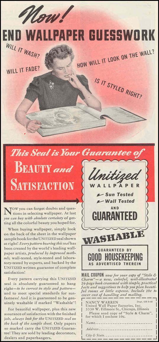 WALL PAPER GOOD HOUSEKEEPING 03/01/1940 p. 169