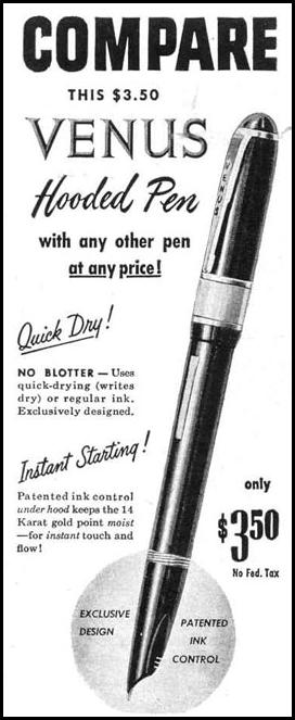 VENUS HOODED FOUNTAIN PEN LIFE 10/27/1947 p. 130