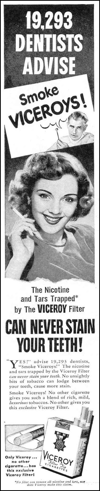 VICEROY CIGARETTES LIFE 10/27/1947 p. 152