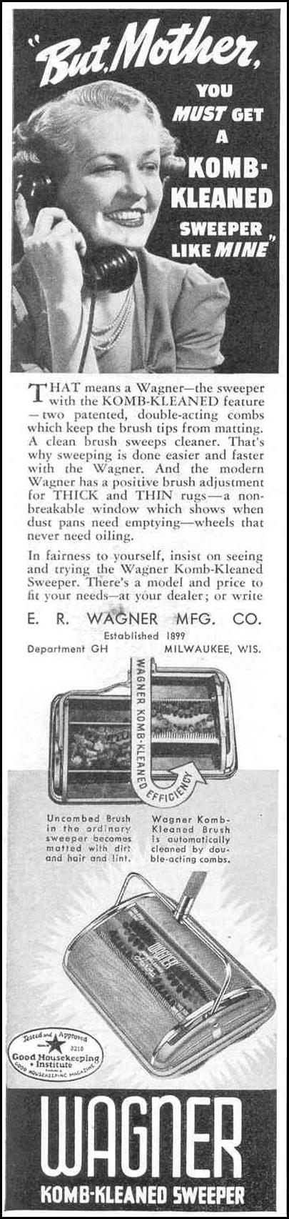 WAGNER KOMB-KLEENED SWEEPER GOOD HOUSEKEEPING 03/01/1940 p. 178
