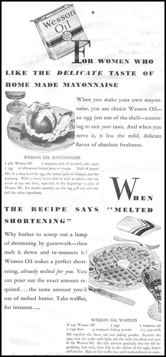 WESSON OIL GOOD HOUSEKEEPING 06/01/1933 p. 104
