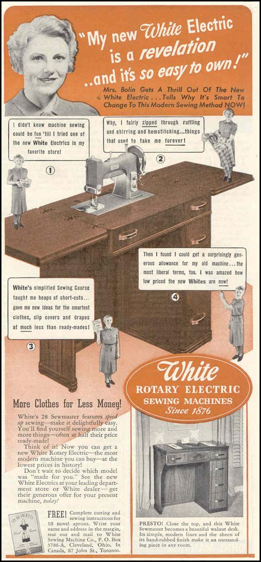 WHITE ROTARY ELECTRIC SEWING MACHINES GOOD HOUSEKEEPING 03/01/1940 p. 167