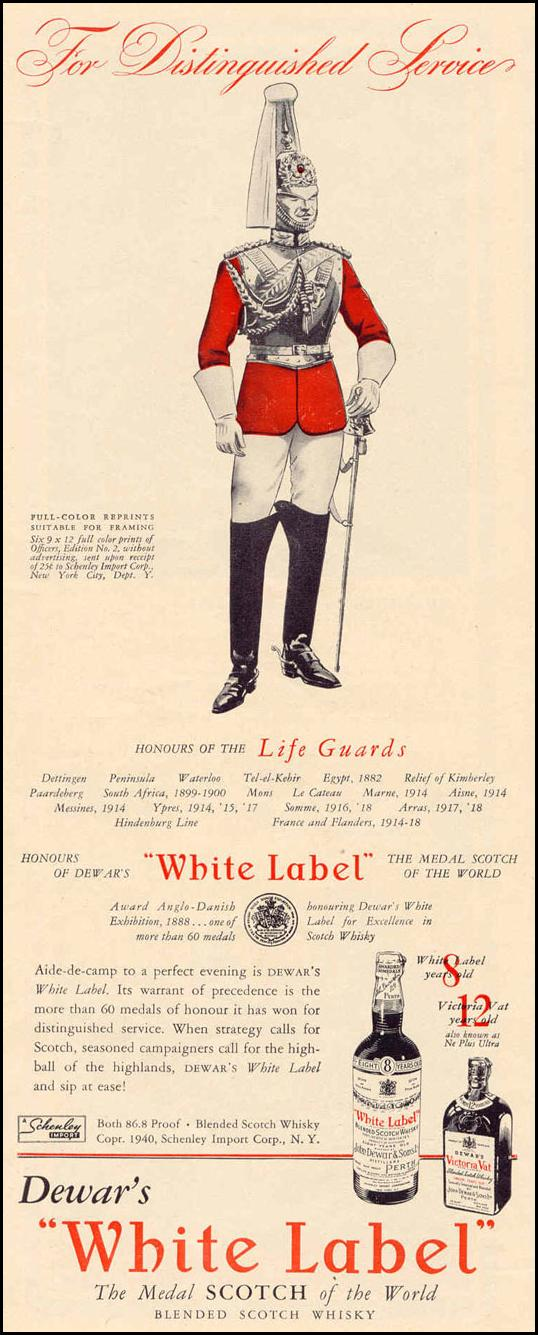 DEWAR'S WHITE-LABEL SCOTCH WHISKEY LIFE 03/18/1940 p. 62