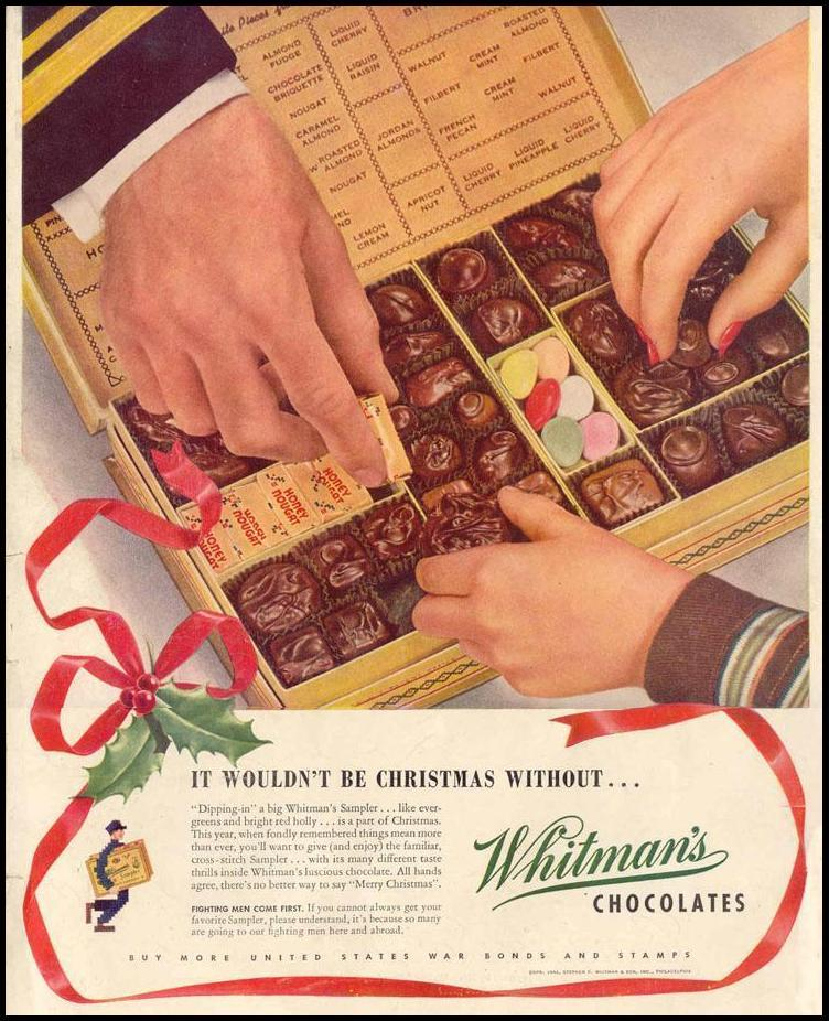 WHITMAN'S CHOCOLATES LIFE 12/20/1943 BACK COVER