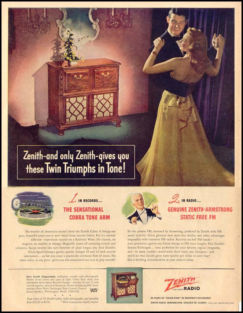 ZENITH RADIOS LIFE 10/27/1947 p. 18