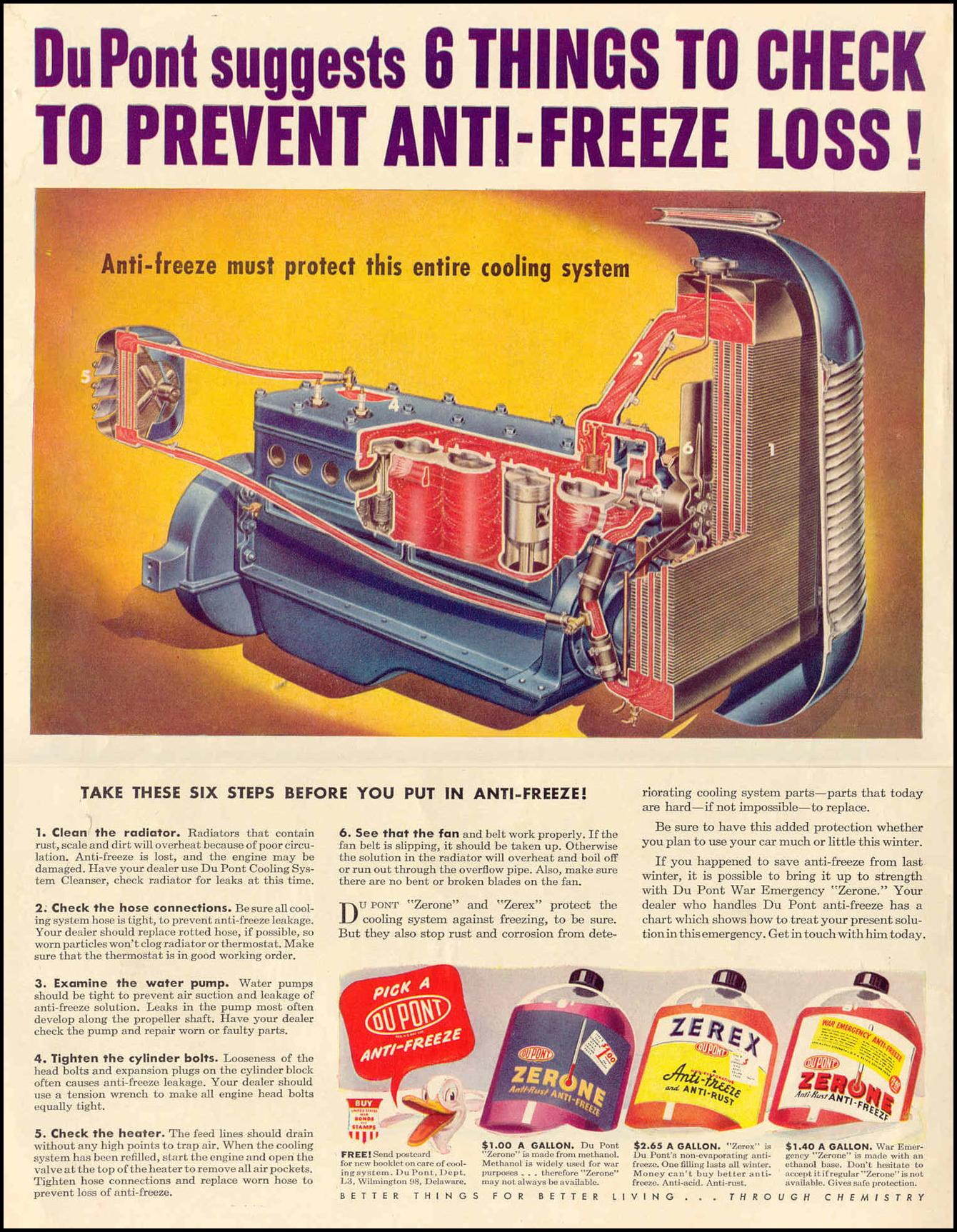 DU PONT ANTI-FREEZE LIFE 11/01/1943 INSIDE FRONT