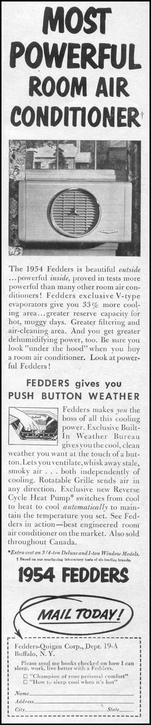 FEDDERS ROOM AIR CONDITIONER LIFE 07/12/1954 p. 59