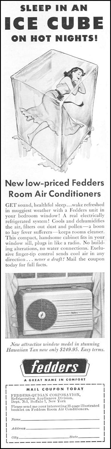 FEDDERS ROOM AIR CONDITIONERS NEWSWEEK 06/11/1951 p. 62