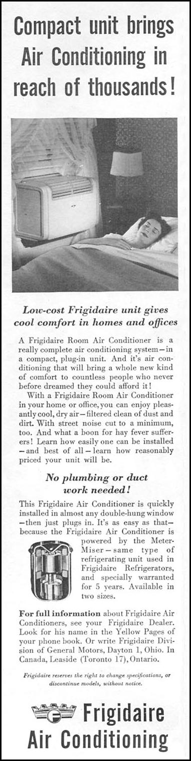 FRIGIDAIRE ROOM AIR CONDITIONER NEWSWEEK 06/11/1951 p. 90