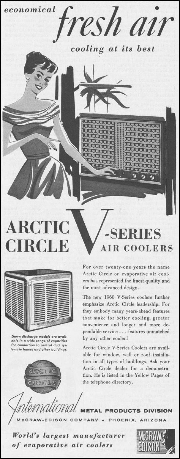 ARCTIC CIRCLE V-SERIES AIR COOLERS SATURDAY EVENING POST 06/11/1960 p. 61