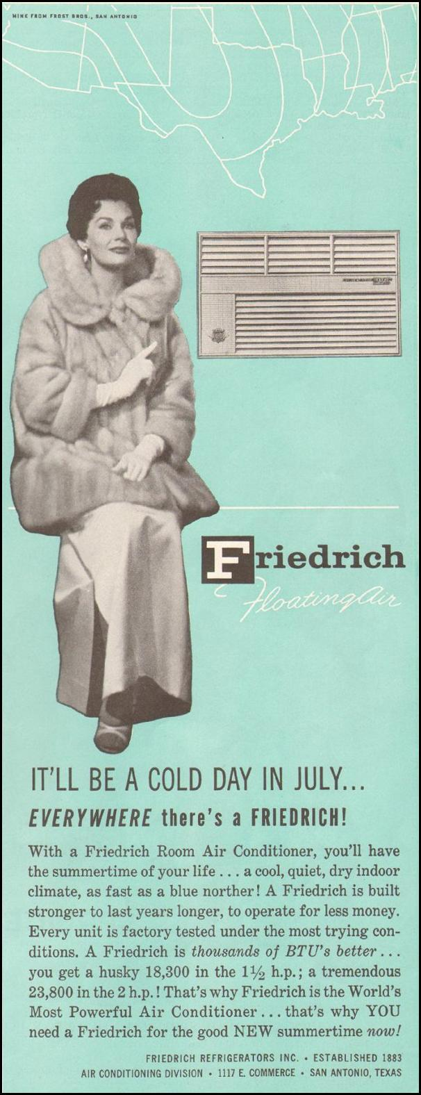 FRIEDRICH AIR CONDITIONERS SATURDAY EVENING POST 06/11/1960 p. 83