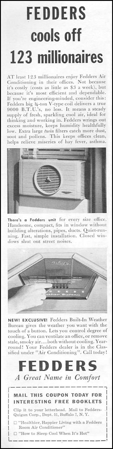 FEDDERS ROOM AIR CONDITIONERS TIME 06/08/1953 p. 88
