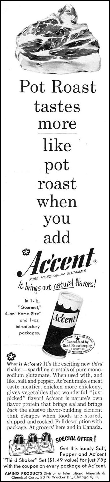 ACCENT MONOSODIUM GLUTAMATE WOMAN'S DAY 02/01/1954 p. 164