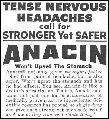 ANACIN ANALGESIC TABLETS WOMAN'S DAY 09/01/1955 p. 124