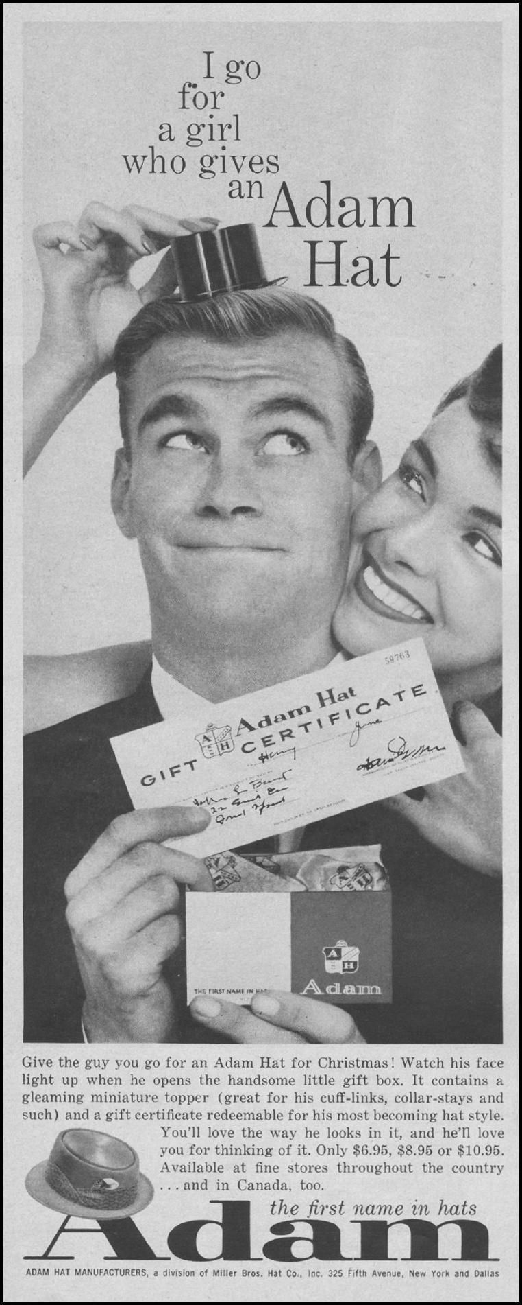 ADAM HAT GIFT CERTIFICATES LIFE 12/08/1958 p. 68