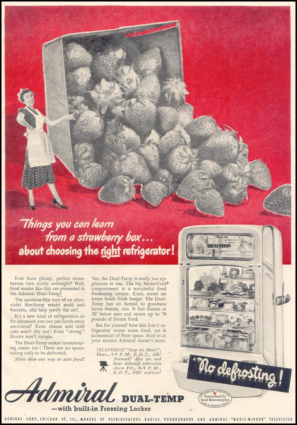 ADMIRAL DUAL-TEMP REFRIGERATORS GOOD HOUSEKEEPING 07/01/1949 p. 19