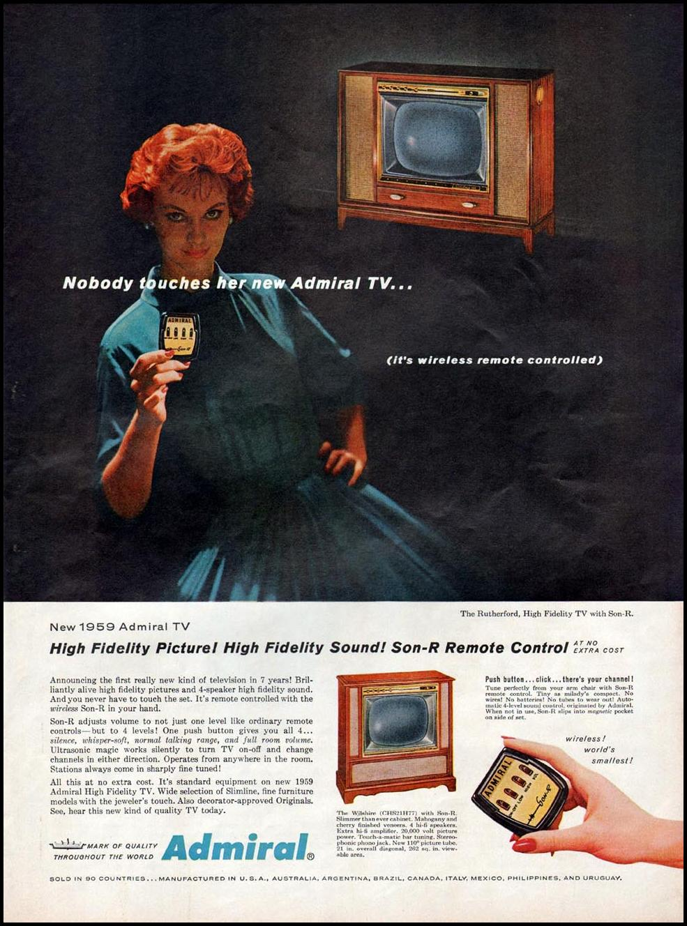 ADMIRAL TELEVISIONS WITH SON-R REMOTE CONTROL LIFE 09/15/1958