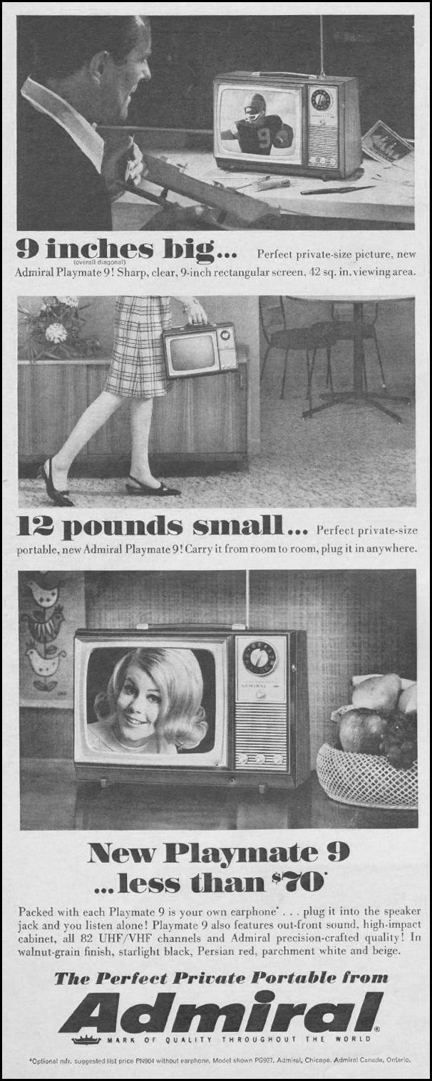 ADMIRAL PORTABLE TELEVISIONS LIFE 11/04/1966 p. 18