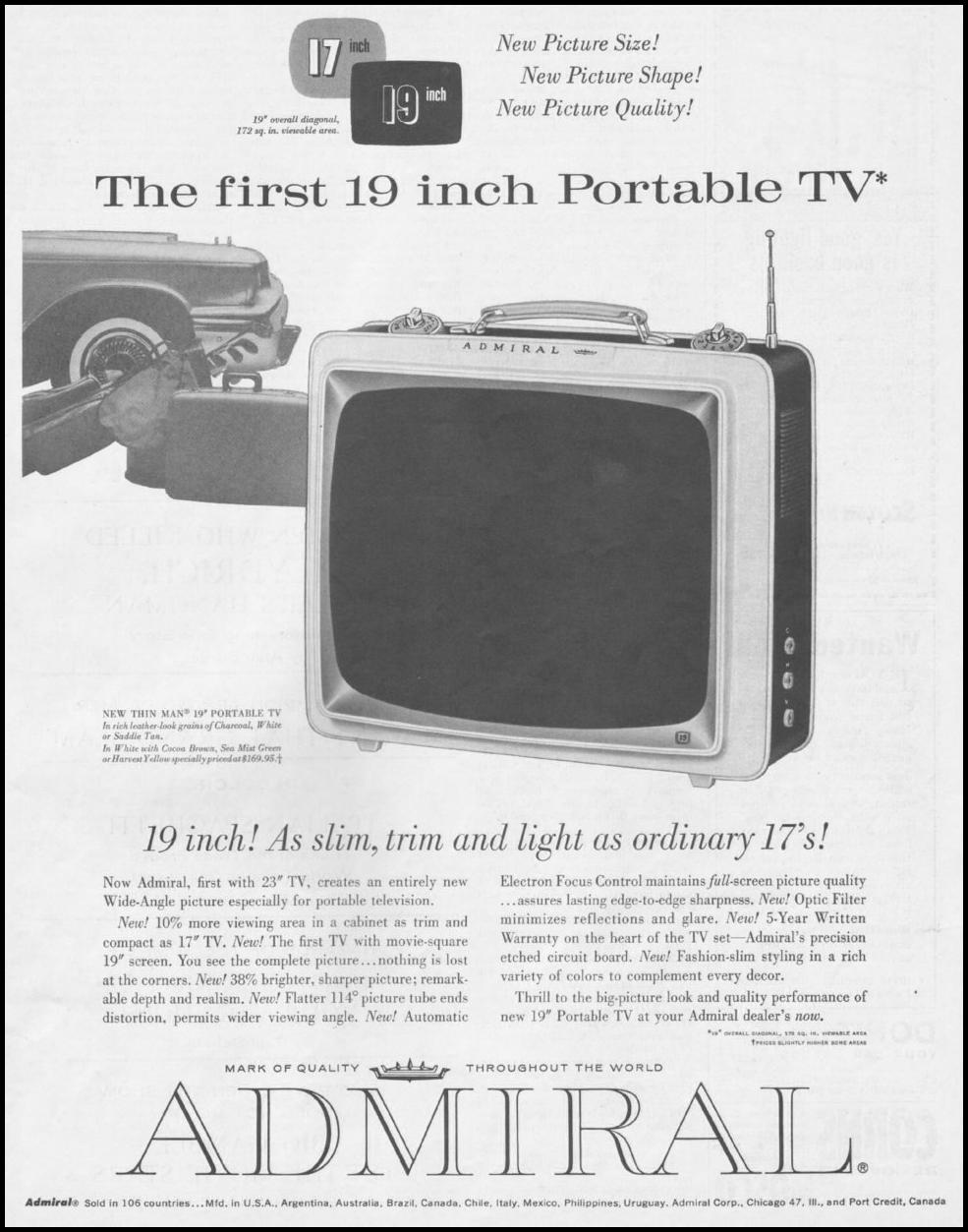 ADMIRAL PORTABLE TELEVISIONS SATURDAY EVENING POST 06/11/1960 p. 111