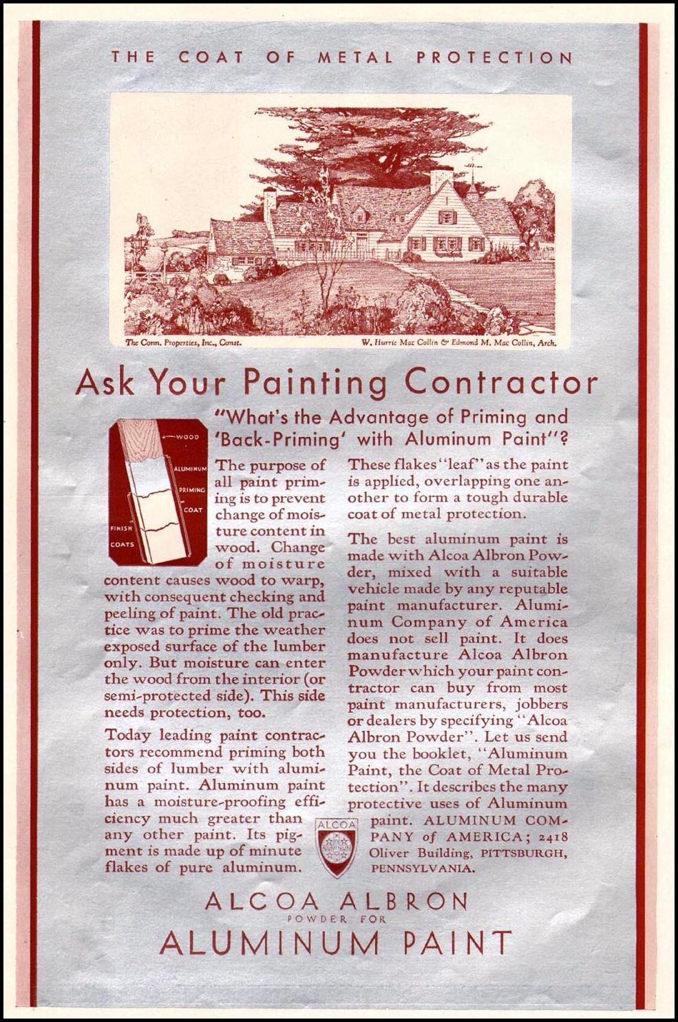 ALCOA ALBRON ALUMINUM PAINT BETTER HOMES AND GARDENS 10/01/1930 p. 66