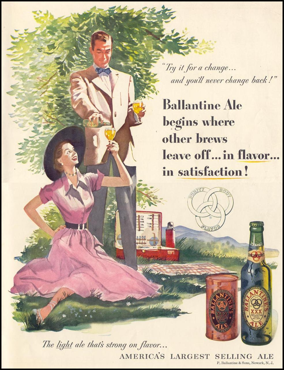 BALLANTINE ALE LIFE 07/30/1951 INSIDE BACK