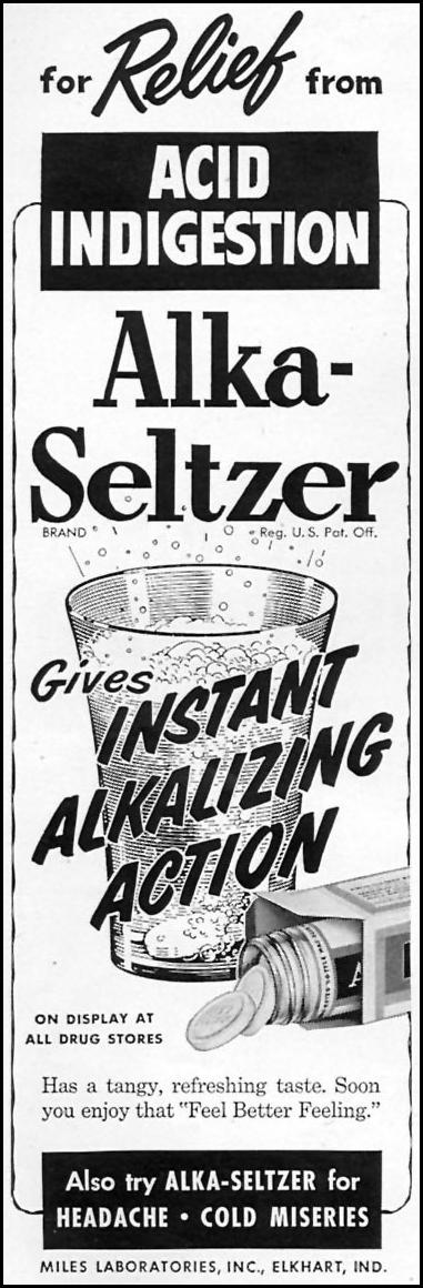 ALKA-SELTZER WOMAN'S DAY 02/01/1954 p. 154