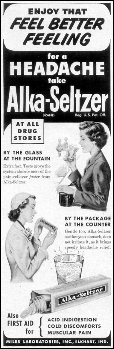 ALKA-SELTZER WOMAN'S DAY 03/01/1954 p. 162