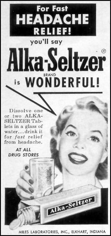 ALKA-SELTZER WOMAN'S DAY 10/01/1954 p. 186