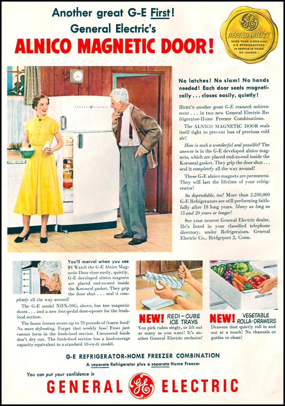 G-E REFRIGERATOR-FREEZER COMBINATION WOMAN'S DAY 06/01/1950 p. 34