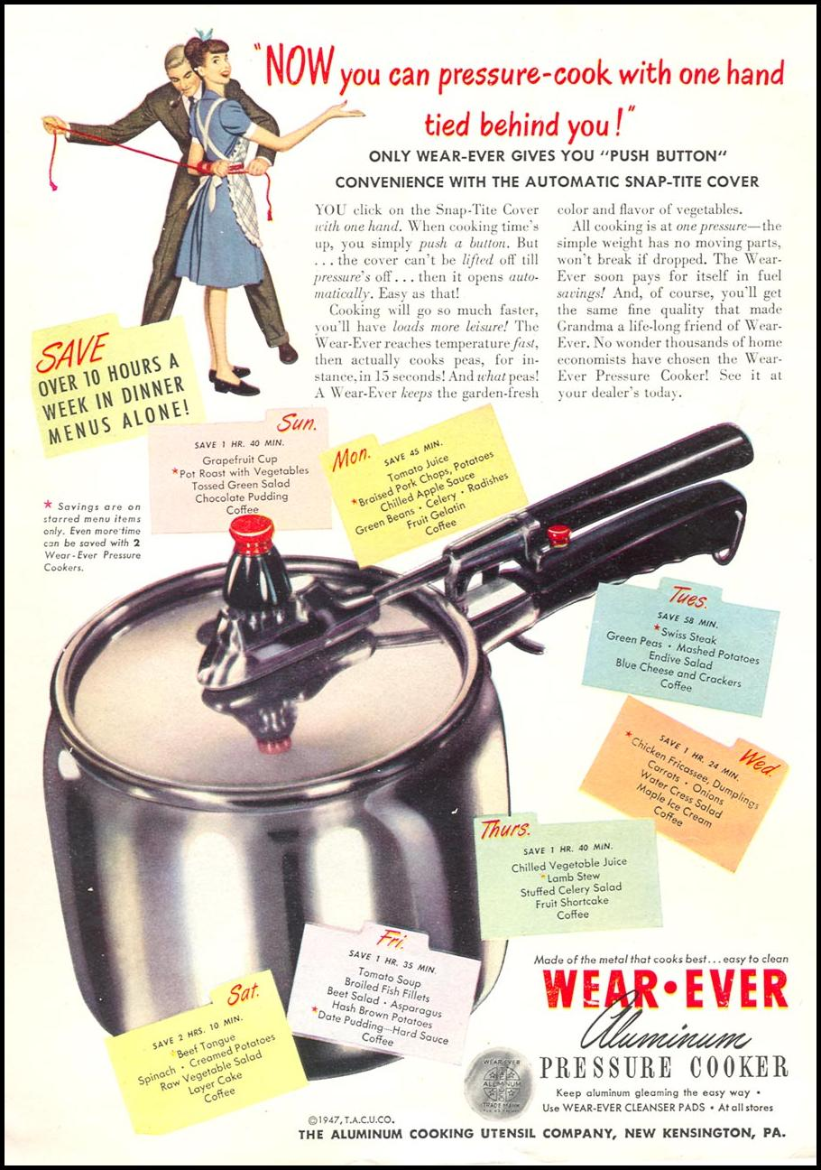 WEAR-EVER ALUMINUM PRESSURE COOKERS WOMAN'S DAY 09/01/1947 INSIDE BACK