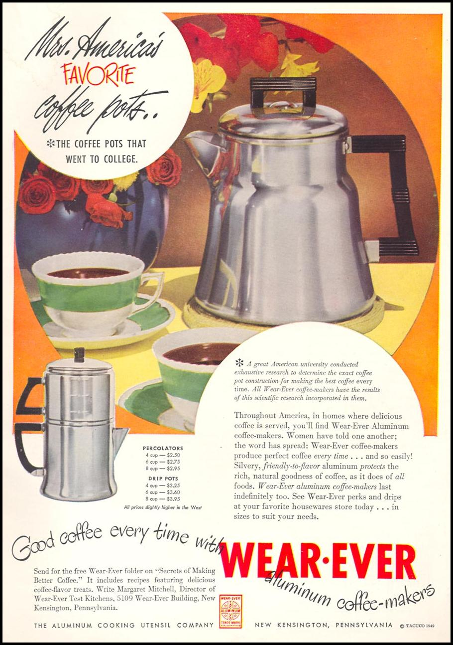 WEAR-EVER ALUMINUM COFFEE-MAKERS WOMAN'S DAY 09/01/1949 INSIDE BACK