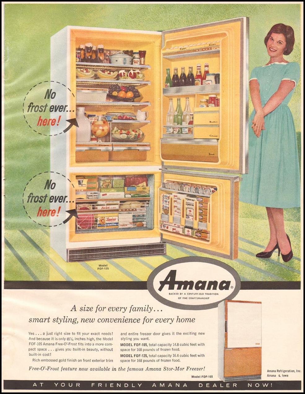 AMANA REFRIGERATORS BETTER HOMES AND GARDENS 03/01/1960 p. 137