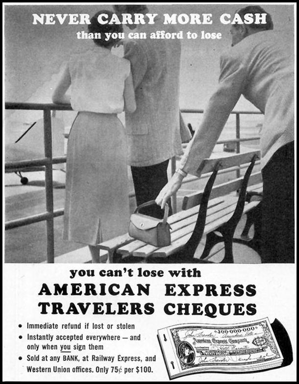 AMERICAN EXPRESS TRAVELERS CHEQUES SATURDAY EVENING POST 09/03/1955 p. 92