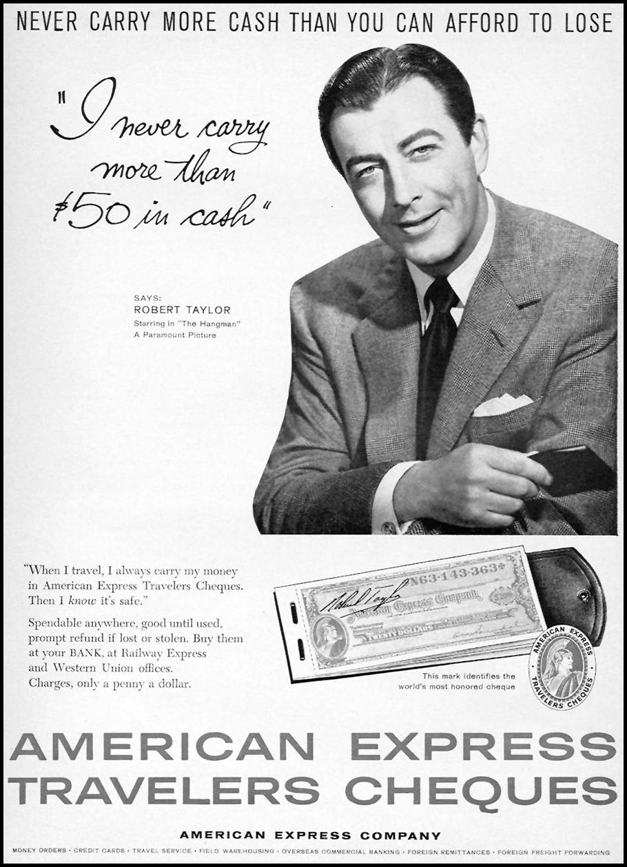 AMERICAN EXPRESS TRAVELERS CHEQUES SPORTS ILLUSTRATED 05/11/1959 p. 83