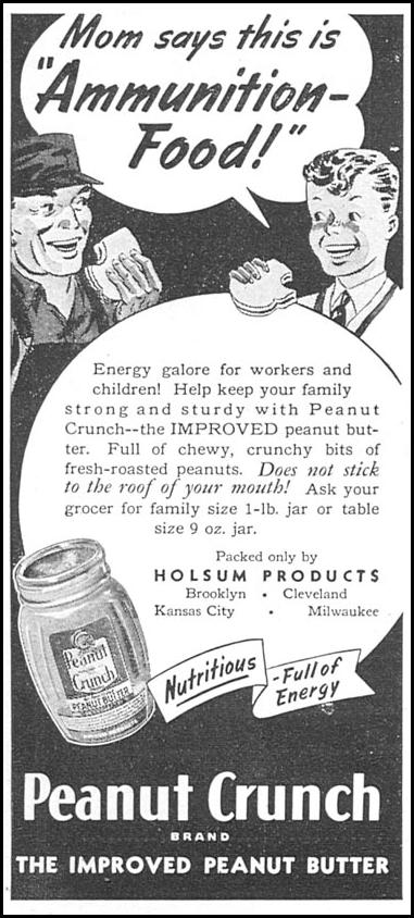 HOLSUM PEANUT CRUNCH WOMAN'S DAY 04/01/1943 p. 70