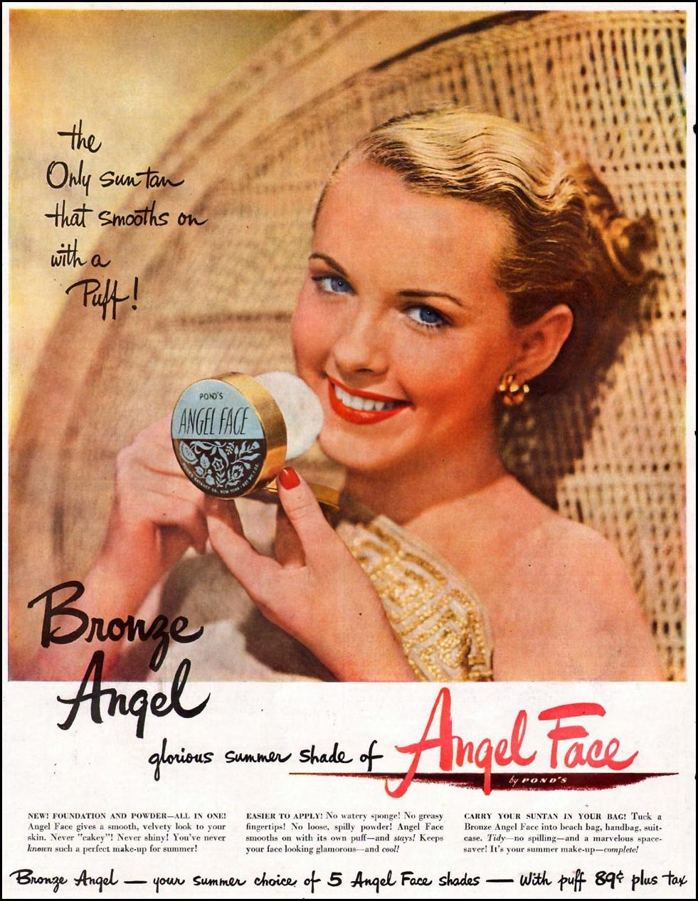 POND'S ANGEL FACE COSMETICS LADIES' HOME JOURNAL 07/01/1949 p. 80