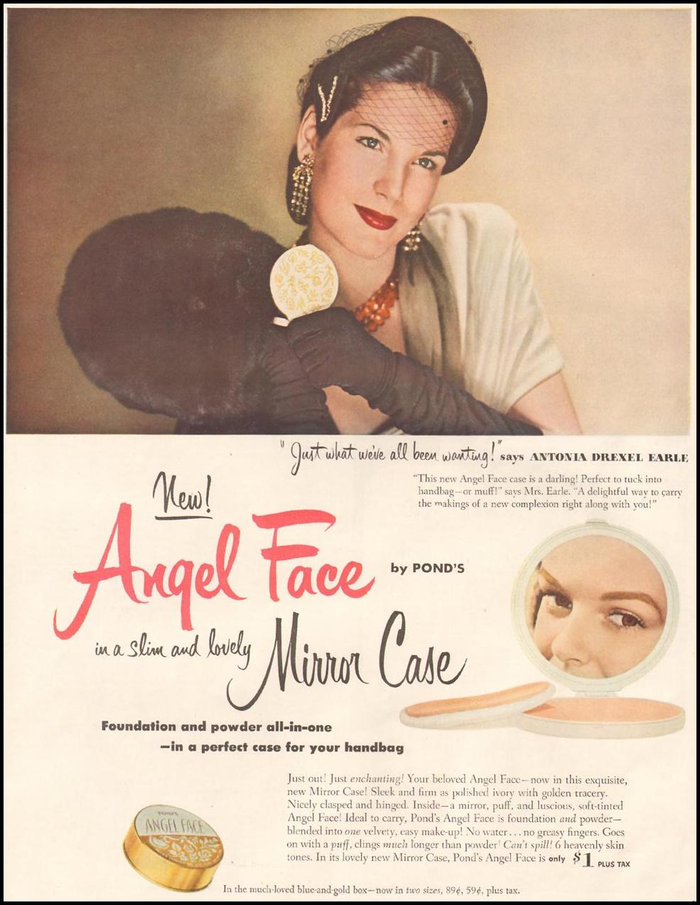 POND'S ANGEL FACE COSMETICS LADIES' HOME JOURNAL 11/01/1950 p. 16