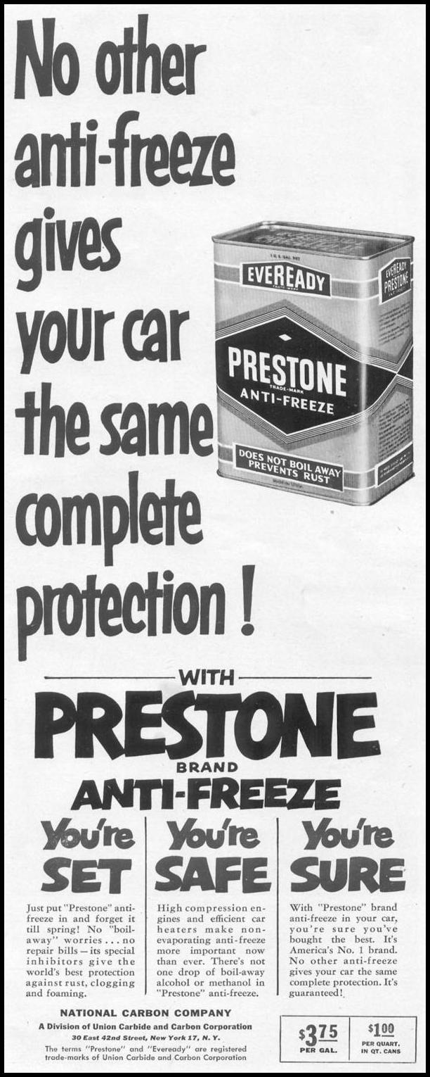PRESTONE ANTI-FREEZE LIFE 10/13/1952 p. 175