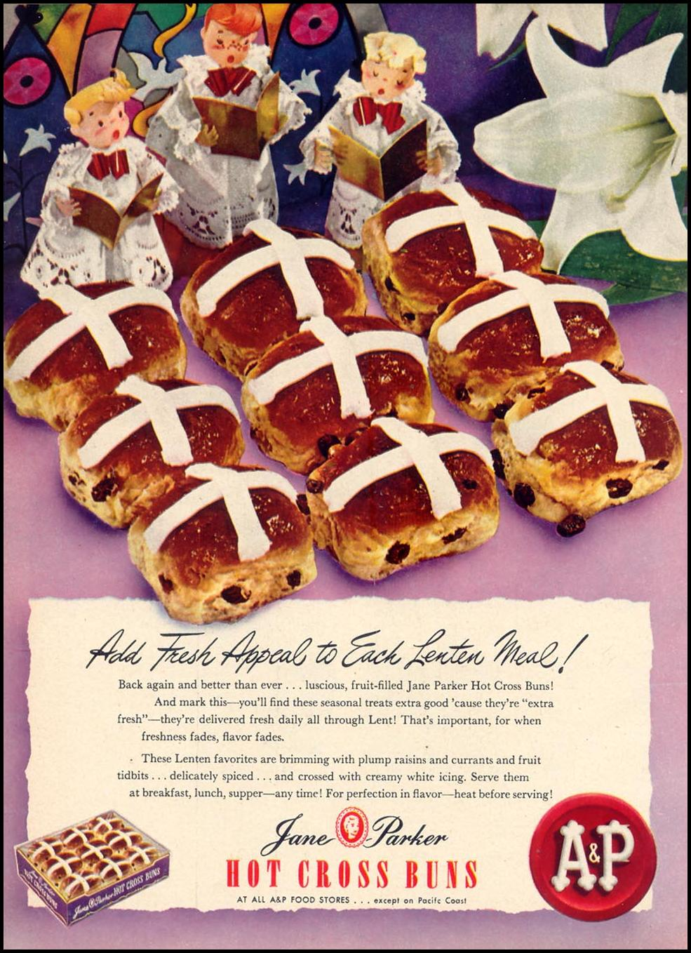 JANE PARKER HOT CROSS BUNS WOMAN'S DAY 03/01/1948 p. 28