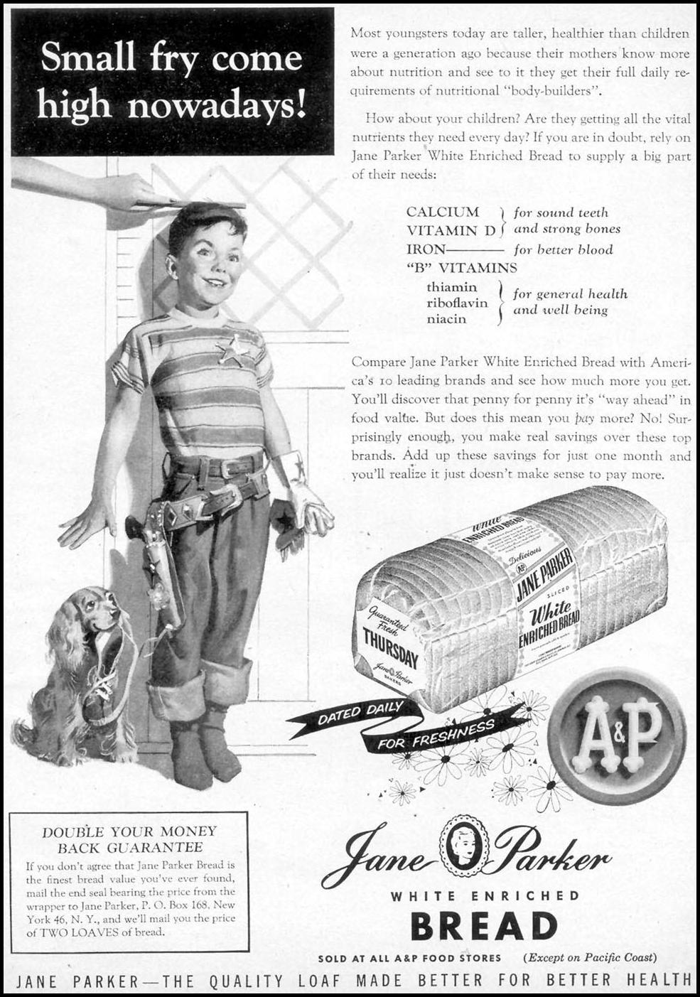 JANE PARKER ENRICHED BREAD WOMAN'S DAY 03/01/1954 p. 13