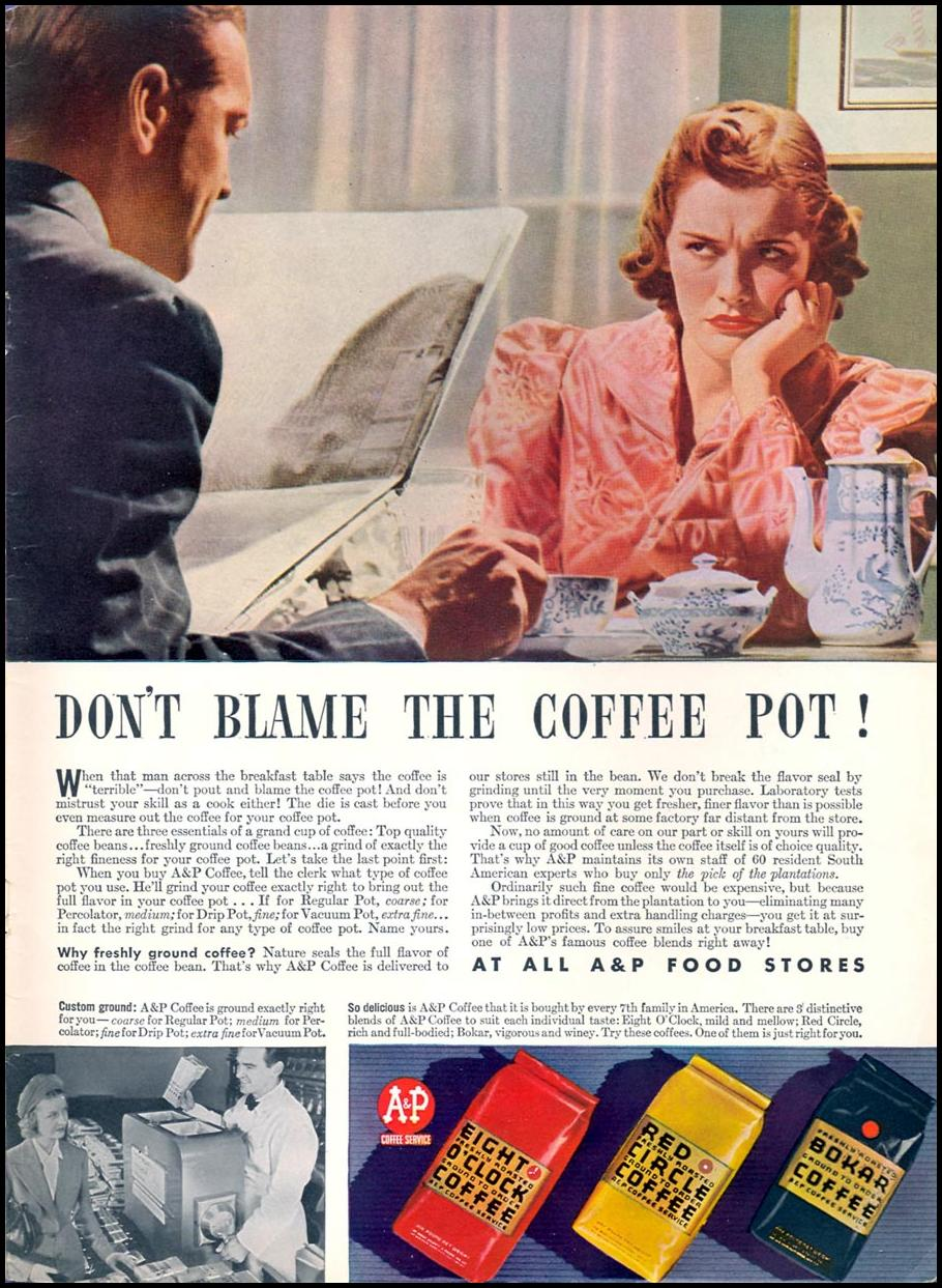 A & P COFFEE WOMAN'S DAY 05/01/1940 INSIDE BACK