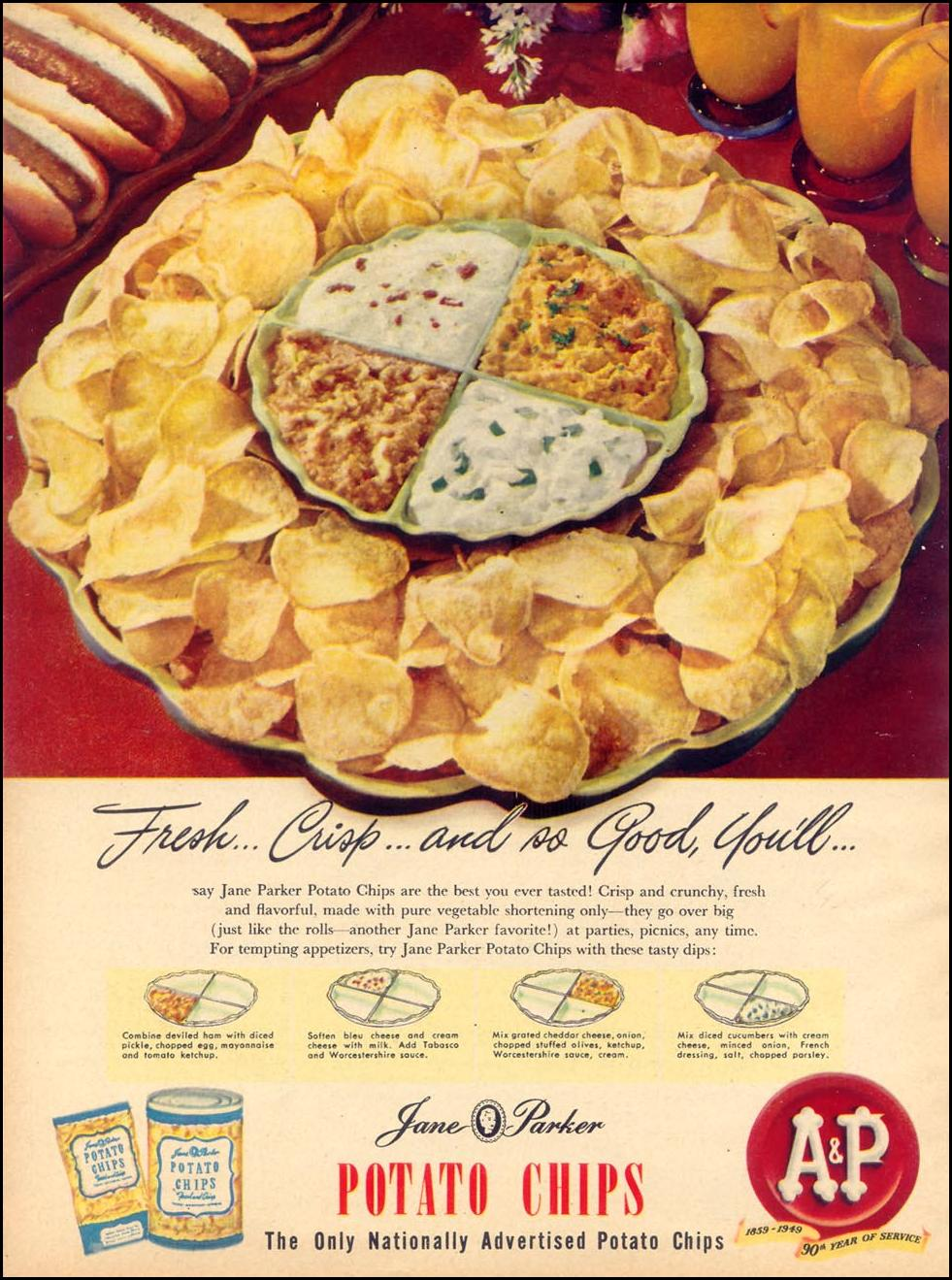 JANE PARKER POTATO CHIPS WOMAN'S DAY 05/01/1949 p. 16