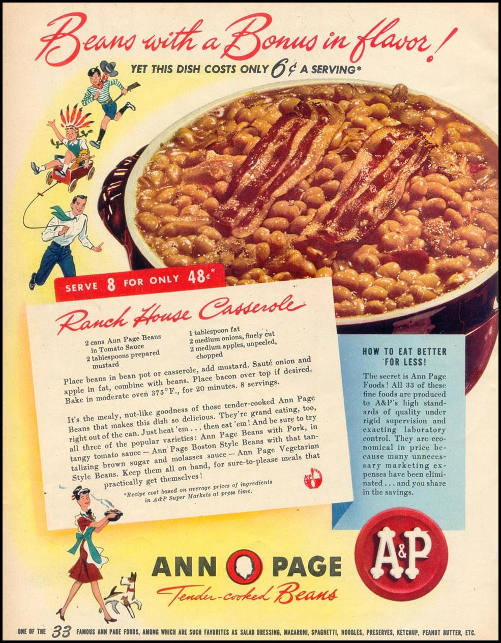 ANN PAGE TENDER-COOKED BEANS WOMAN'S DAY 09/01/1947 p. 64