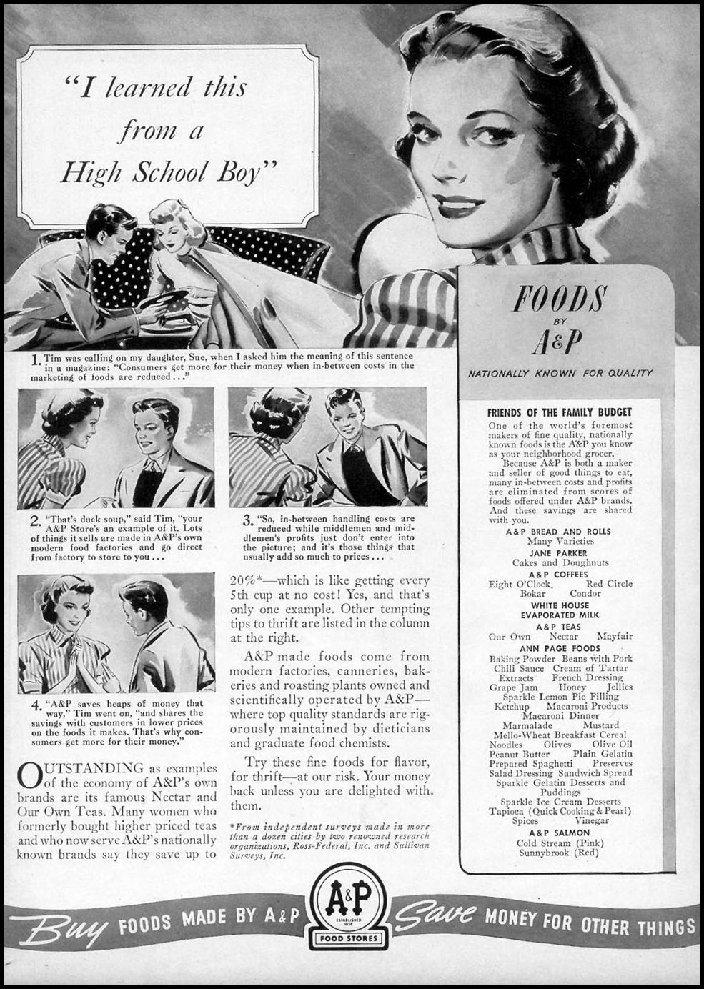 A & P FOODS WOMAN'S DAY 10/01/1940 p. 52