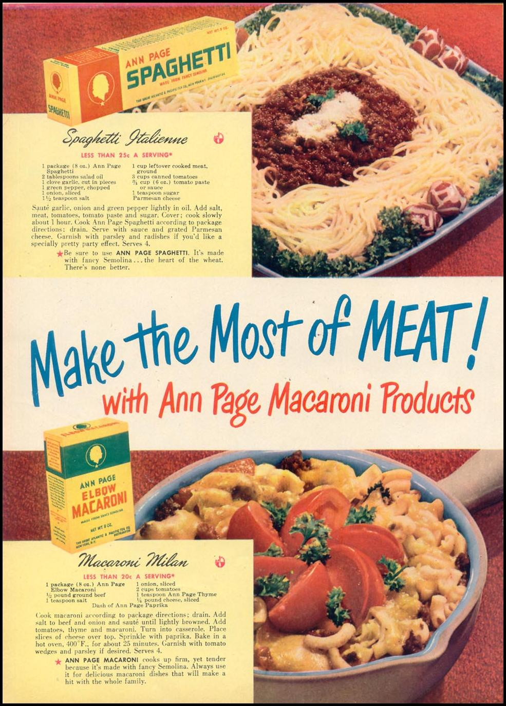ANN PAGE MACARONI PRODUCTS WOMAN'S DAY 10/01/1948 p. 62