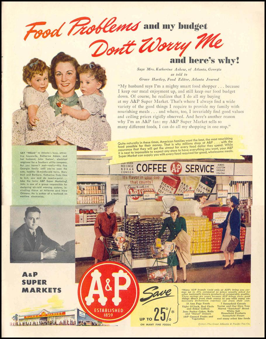 A & P SUPER MARKETS LIFE 02/14/1944 p. 85