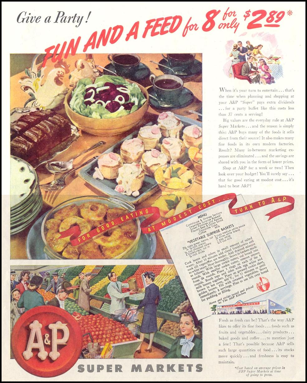 A & P SUPERMARKETS SATURDAY EVENING POST 10/06/1945 p. 101