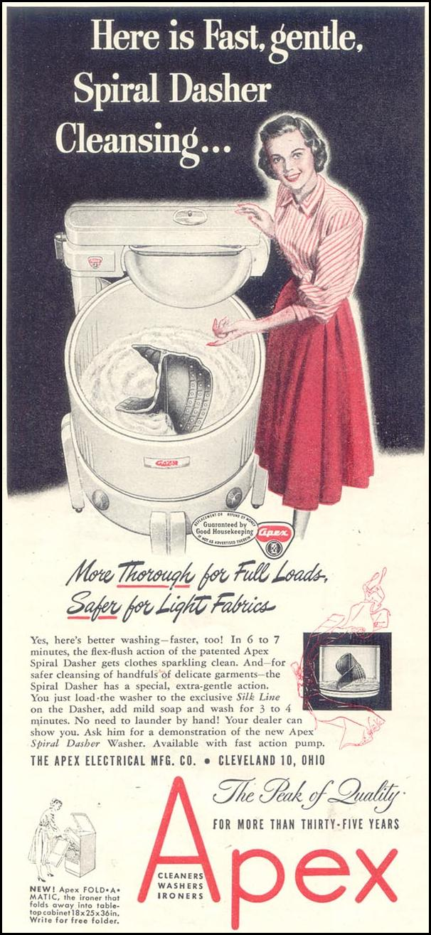 APEX WASHING MACHINES GOOD HOUSEKEEPING 07/01/1948 p. 126